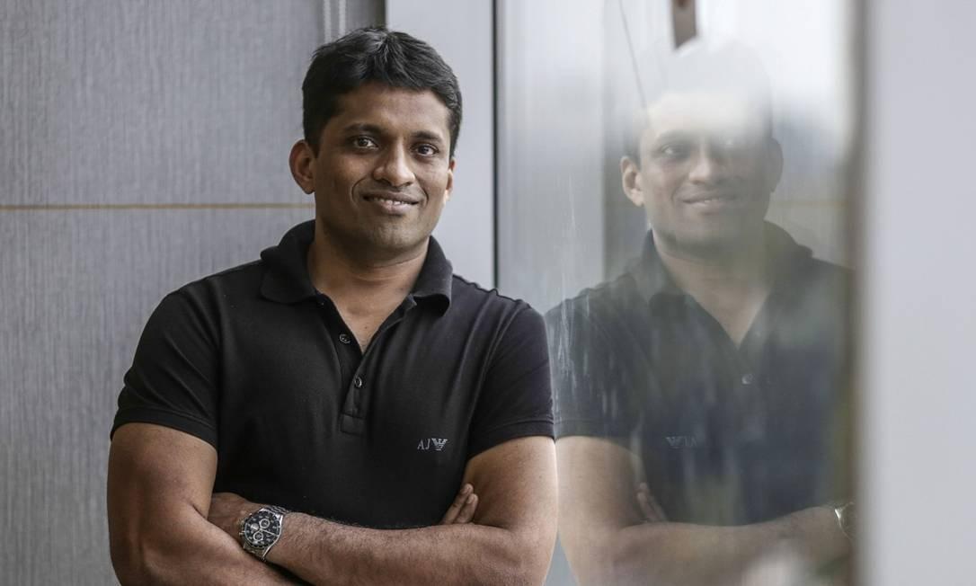 Byju Raveendran criou um aplicativo educacional que recebeu US$ 150 milhões em financiamento no início deste mês Foto: Bloomberg