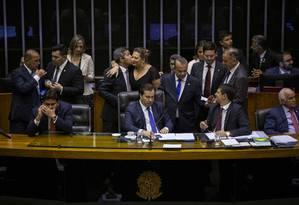 A Câmara dos Deputados vota a reforma da Previdência em segundo turno Foto: Daniel Marenco / Agência O Globo
