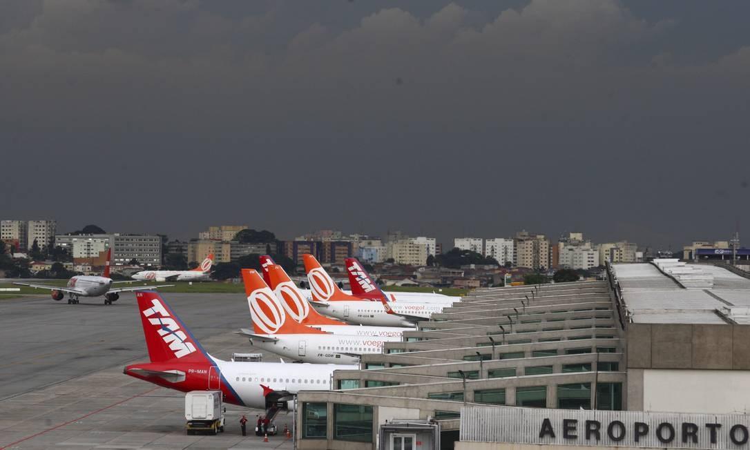 Aeroporto mais disputado do país, Congonhas, em São Paulo, ainda é dominado por Gol e Latam Foto: Michel Filho / Agência O Globo