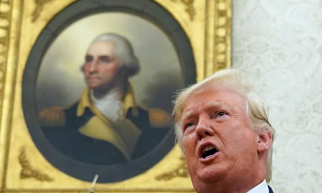Presidente Donald Trump no Salão Oval da Casa Branca Foto: Kevin Lamarque / Reuters