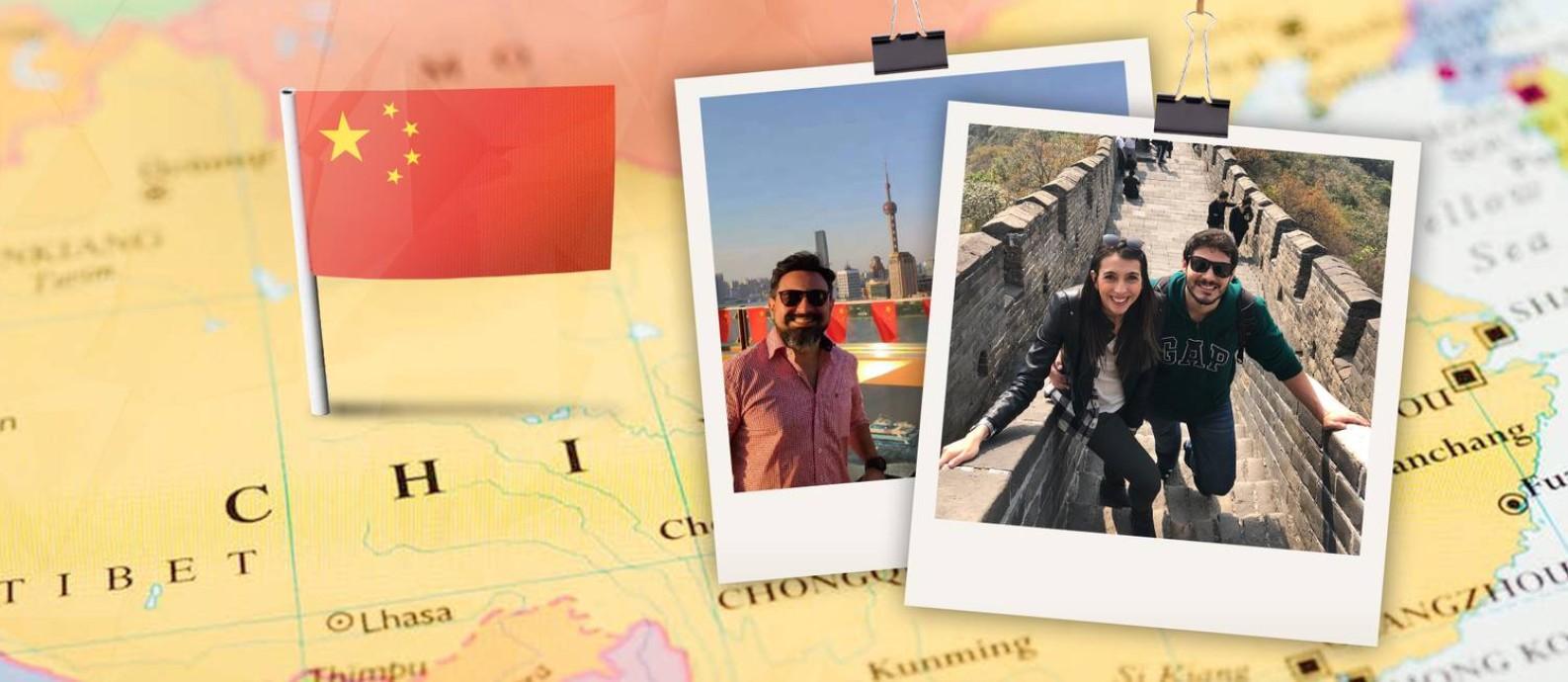 Fabiano Coelho Ponce, à esquerda, e o casal Naschara Saraiva e Leonardo Caligari na Grande Muralha da China Foto: Arte sobre fotos de arquivo pessoal