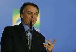 Presidente Jair Bolsonaro na solenidade do Palácio do Planalto Foto: Jorge William / Agência O Globo