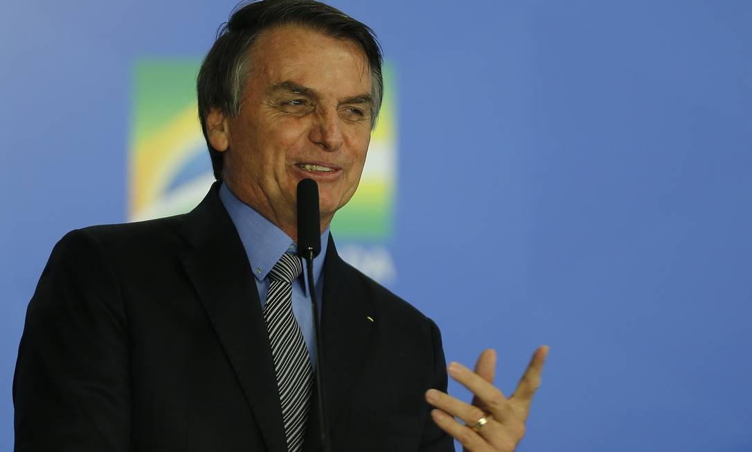 Presidente Jair Bolsonaro na Solenidade de sanção do da MP da Liberdade Econômica Foto: Jorge William / Agência O Globo