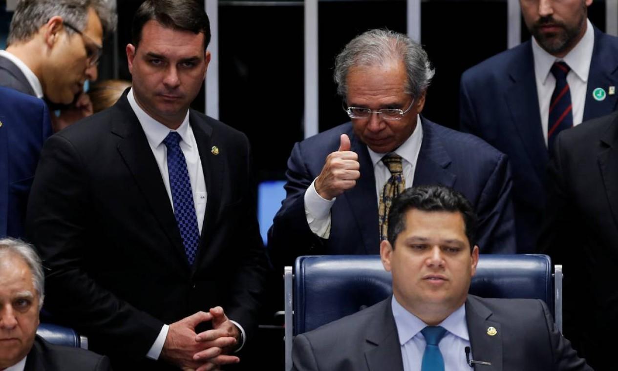 Ministro da Economia, Paulo Guedes, durante votação da reforma da Previdência no Senado. Ele afirmou que o pacto federativo será enviado ao Congresso na semana que vem Foto: Adriano Machado / Reuters