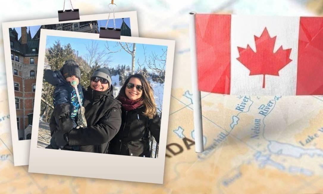 O engenheiro de automação Henrique Trebilcock com a mulher e o filho do casal em Quebec, no Canadá Foto: Álbum de família