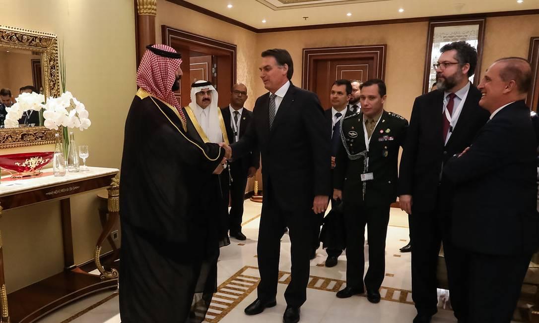 Encontro do príncipe herdeiro saudita,Mohammed bin Salman, e o presidente Jair Bolsonaro Foto: Palácio do Planalto