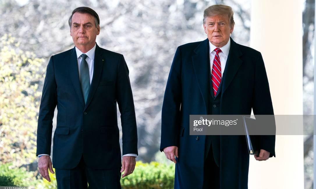 Trump e Bolsonaro em Washington Foto: Pool / Getty Images