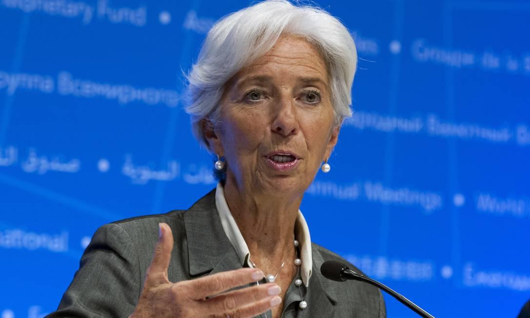 Christine Lagarde durante conferência do FMI Foto: Jose Luis Magana / AP