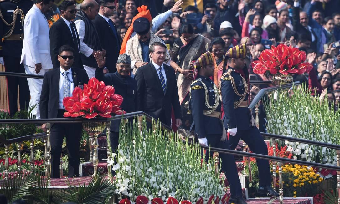 Bolsonaro participa, na Índia, da celebração do Dia da República Foto: Prakash Singh / AFP