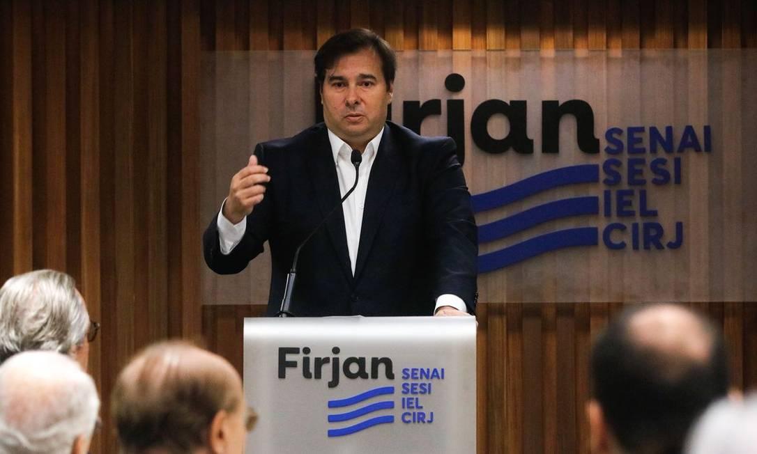 Presidente da Câmara dos Deputados, Rodrigo Maia, em palestra na Firjan Foto: Agência Brasil