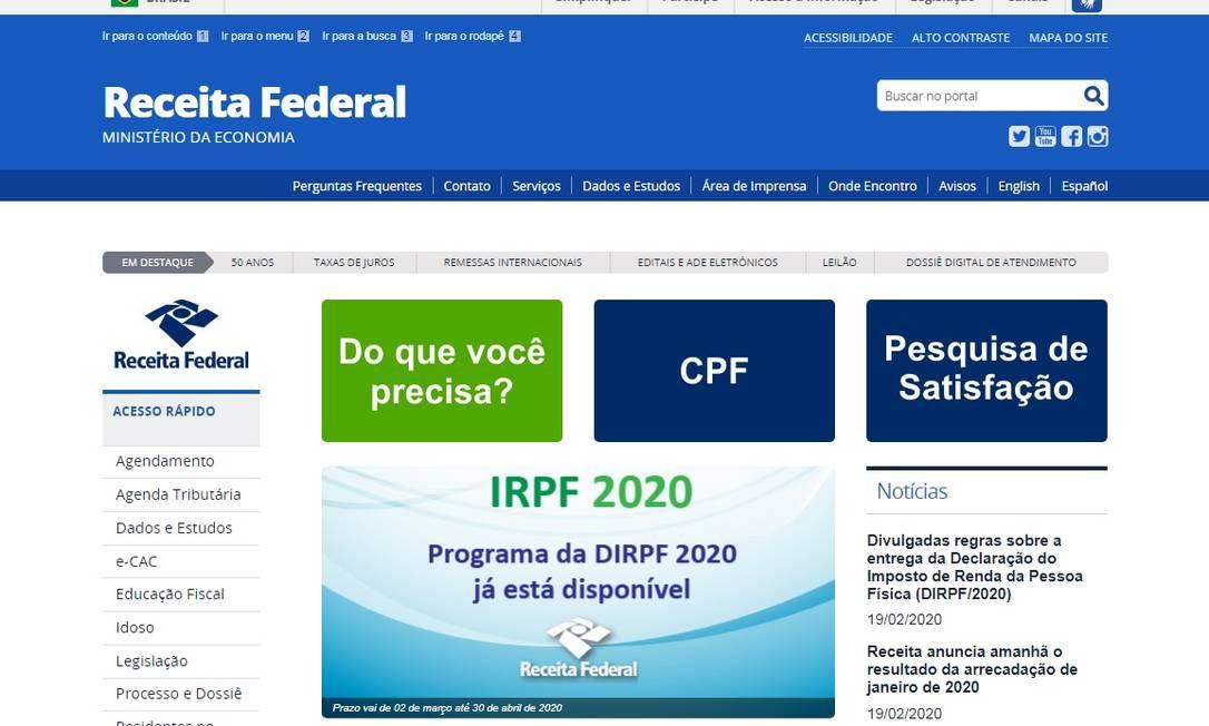O prazo para a entrega da declaração do IR se encerra no próximo dia 30 Foto: Reprodução/Site da Receita