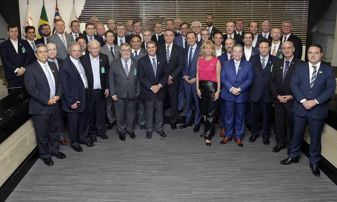 Empresários reunidos com o presidente Jair Bolsonaro na Fiesp, em São Paulo Foto: Divulgação/Fiesp / Divulgação/Fiesp