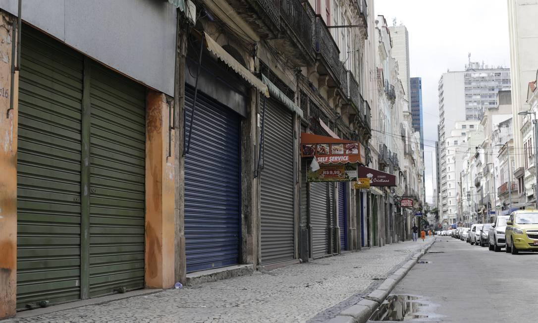 Comércio fechado no Centro do Rio Foto: Marcia Foletto / Marcia Foletto