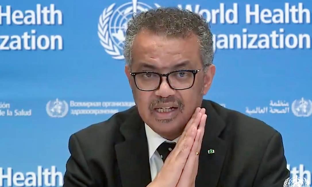 O diretor-geral da OMS, Tedros Adhanom Ghebreyesus, assinou o comunicado conjunto com OMC e FAO Foto: AFP