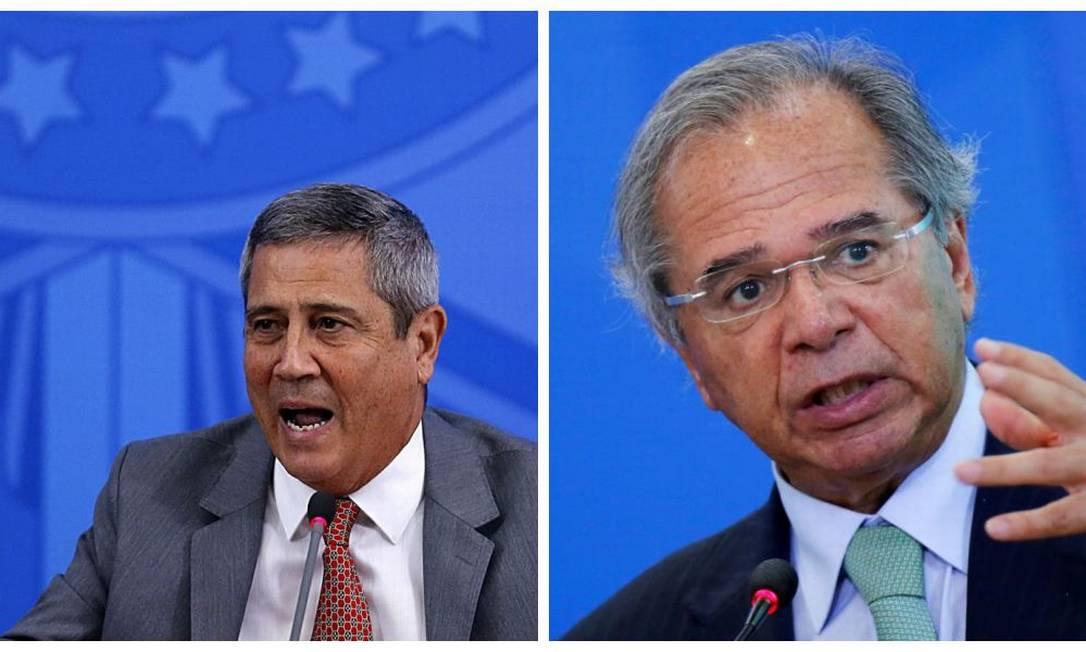 Os ministros Walter Braga Netto, da Casa Civil, e Paulo Guedes, da Economia Foto: O Globo