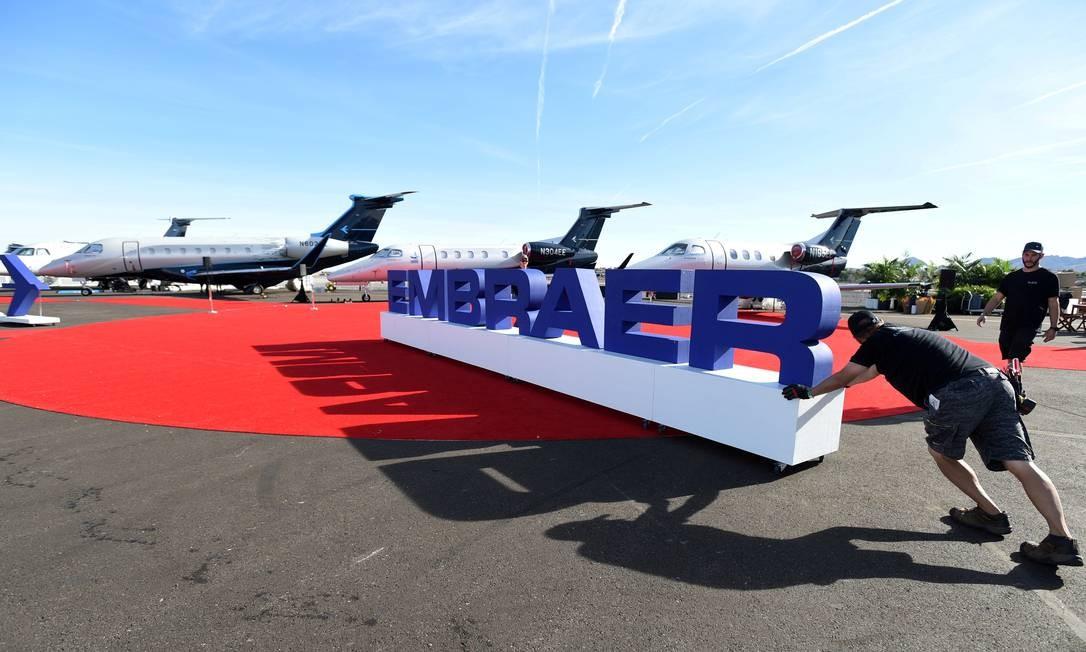 Exibição da Embraer em Las Vegas em outubro de 2019 Foto: David Becker / Reuters
