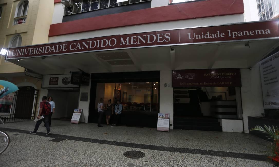Fachada da Universidade Candido Mendes em Ipanema, zona sul do Rio Foto: Domingos Peixoto / Agência O Globo