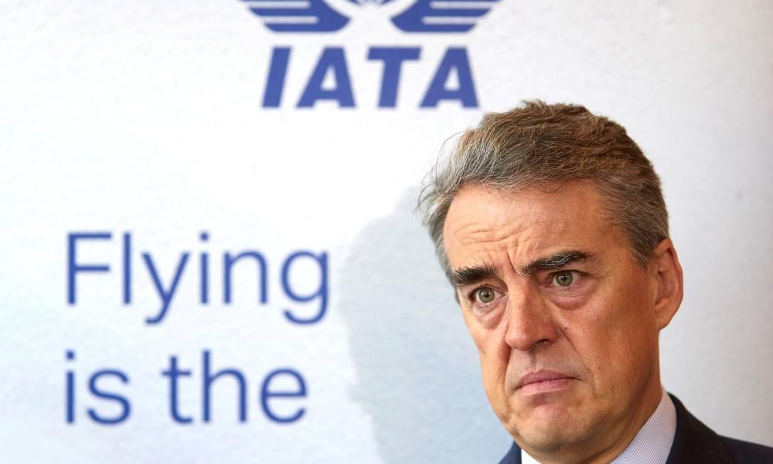 Alexandre de Juniac, diretor-geral da Associação Internacional de Transporte Aéreo (IATA) Foto: Denis Balibouse / Reuters
