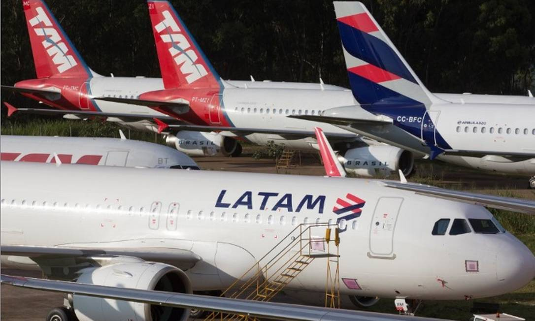 Aviões da Latam, que entrou com pedido de proteção judicial nos EUA Foto: Arquivo