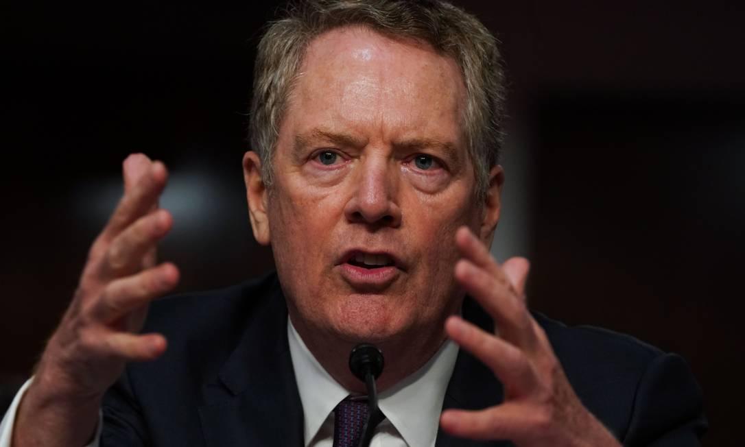 O representante comercial dos EUA, Robert Lighthizer, negou a existência de negociações de acordo de livre comércio com o Brasil Foto: Anna Moneymaker / Bloomberg