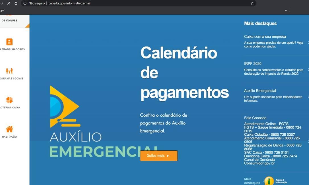 Site falso simulando a página da Caixa para capturar dados do auxílio emergencial Foto: Reprodução