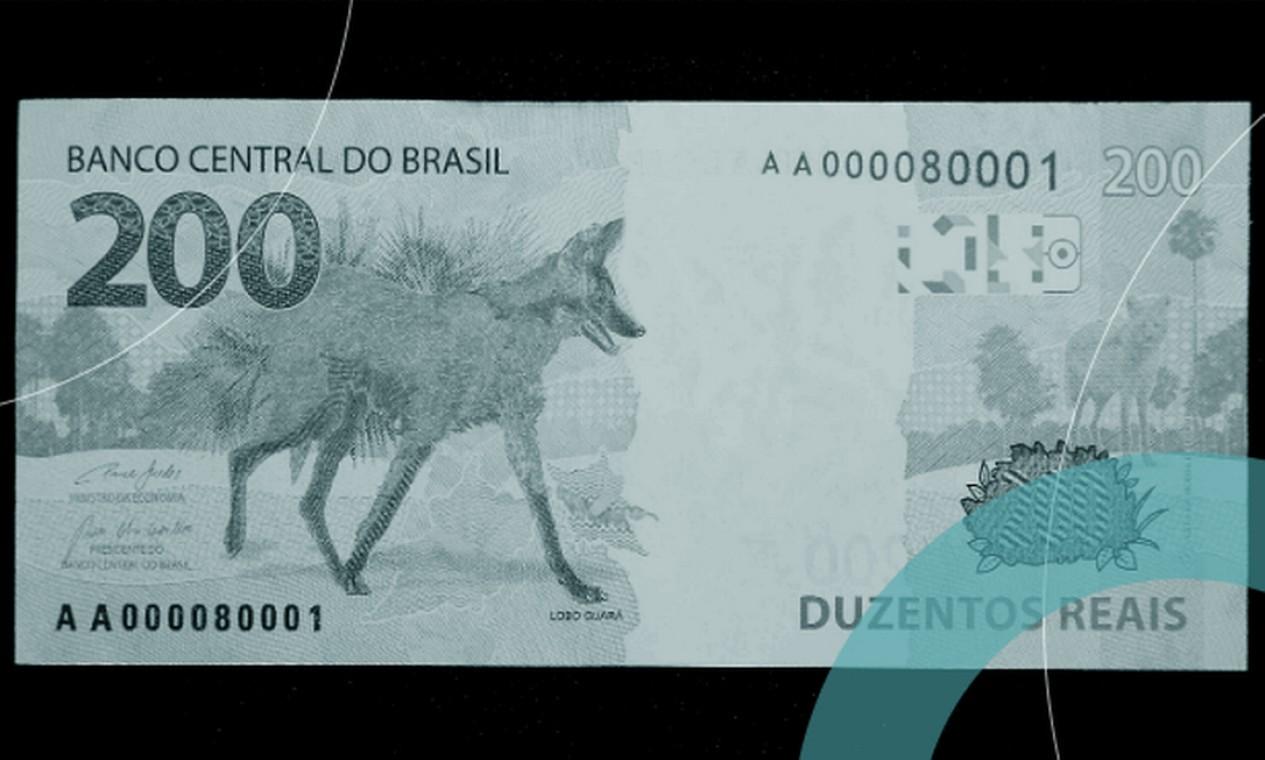 Nova nota de R$ 200 lançada pelo BC tem um lobo-guará estampado. Mas foi o vira-lata caramelo que serviu como garoto-propaganda Foto: Divulgação