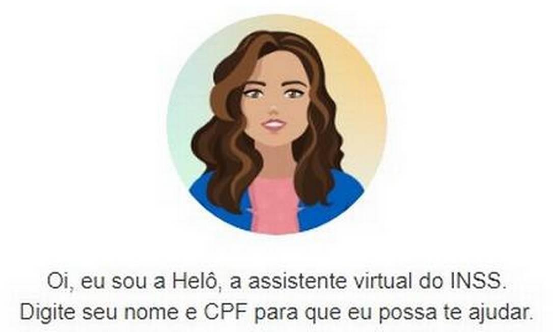 Heloisa é a assistente virtual do INSS Foto: Reprodução