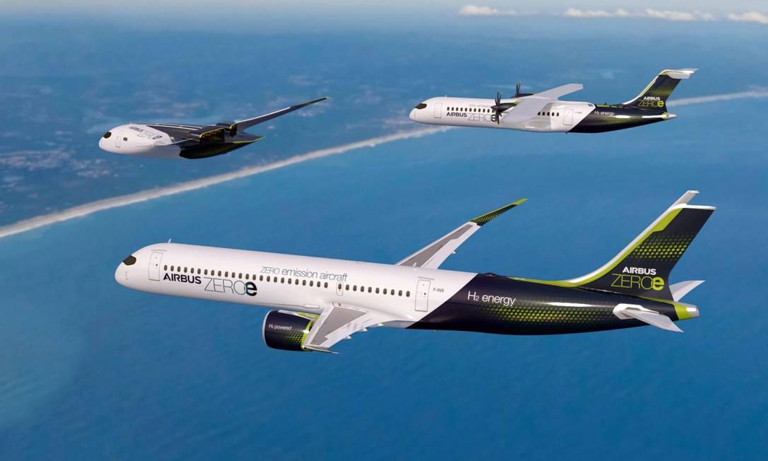 """A fabricante europeia desenvolve três modelos de aeronaves, todas movidas a hidrogênio e nomeadas """"ZEROe"""" Foto: AFP"""