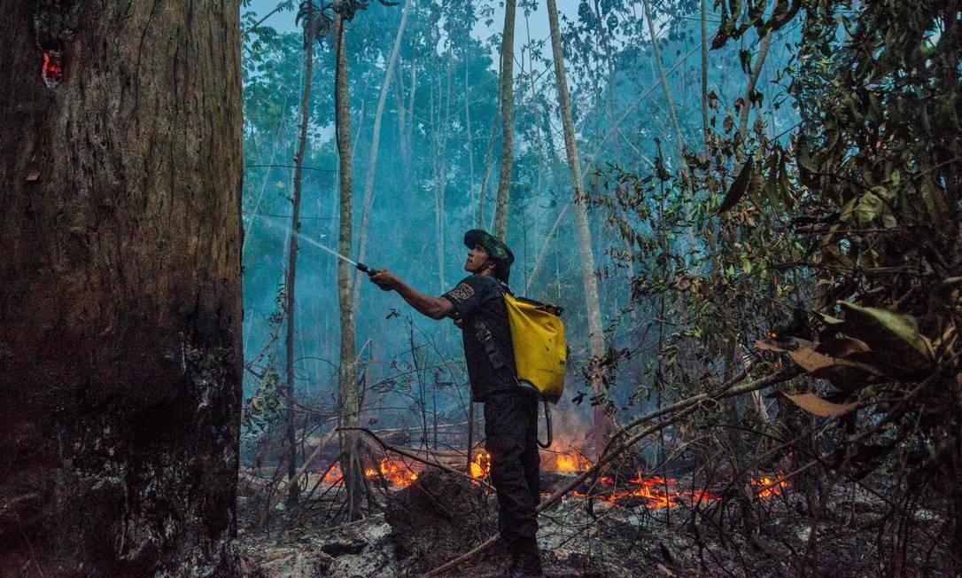 As queimadas na Amazônia e, mais recentemente, no Pantanal, tendem a afastar os investidores estrangeiros do Brasil Foto: João Paulo Guimarães / AFP