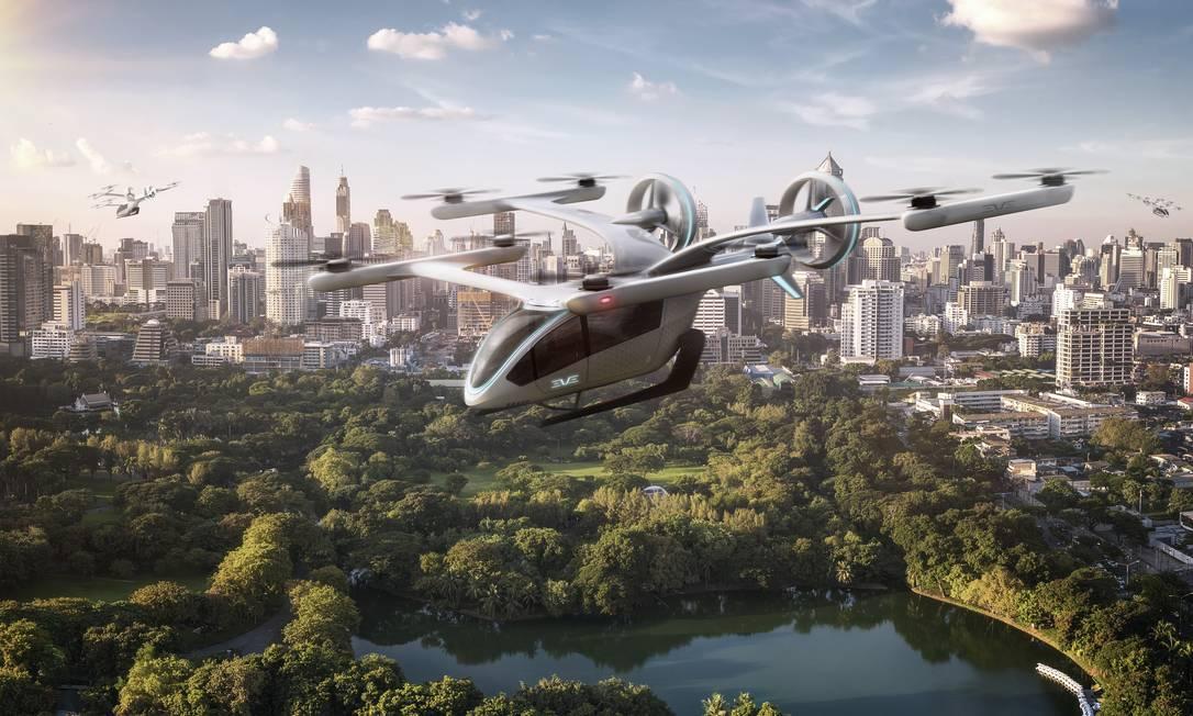Imagem de simulador de veículo elétrico de decolagem e pouso vertical em desenvolvimento pela EmbraerX e pela startup Eve Foto: Reprodução