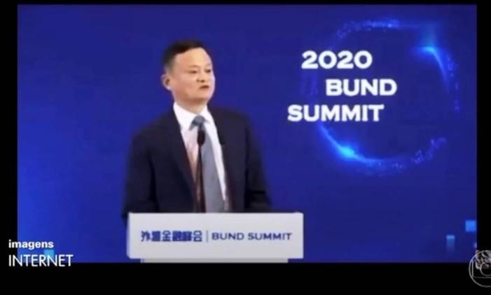 Última aparição pública de Jack Ma foi em outubro, durante fórum em Xangai Foto: Reprodução de TV