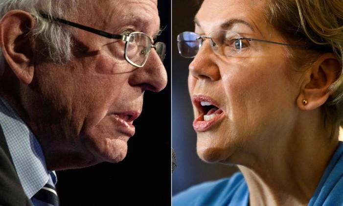 Os senadores democratasBernieSanderseElizabethWarrenpediram investigações contra o que consideraram uma evidência das manipulações no mercado acionário americano Foto: AFP