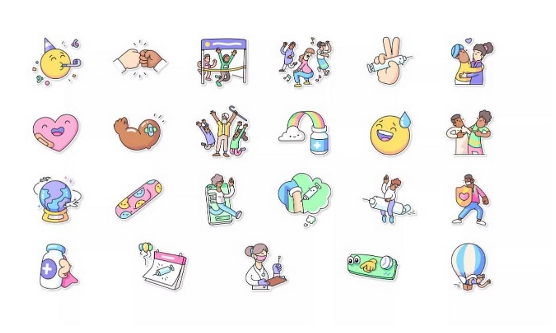 """Pacote de figurinhas """"Vaccines for All"""" já está disponível no WhatsApp Foto: Reprodução/Blog do Whatsapp"""