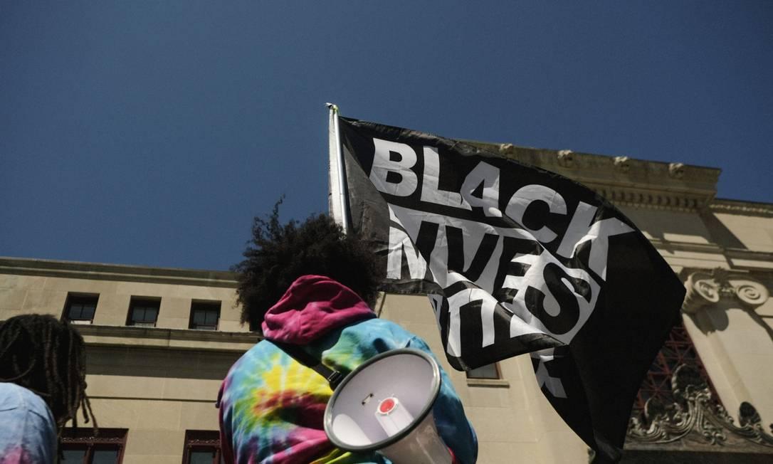 Manifestação do movimento 'Black Lives Matter' na época da morte de George Floyd Foto: Matthew Hatcher / Bloomberg