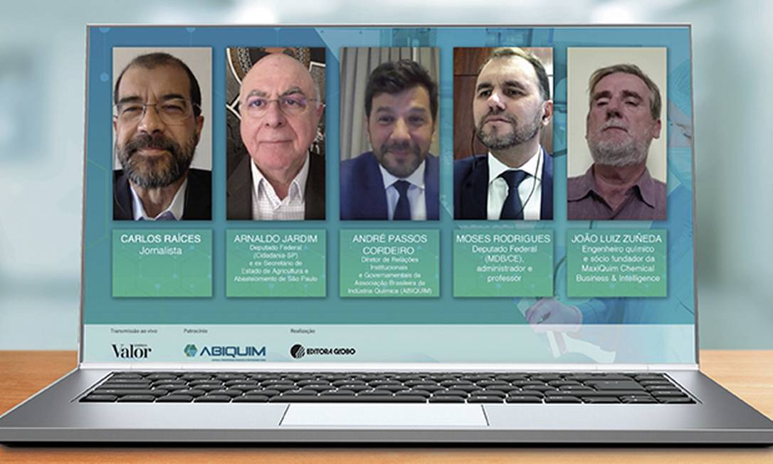 """Os participantes da live """"Competitividade e relevância na indústria química do Brasil"""" Foto: Divulgação"""