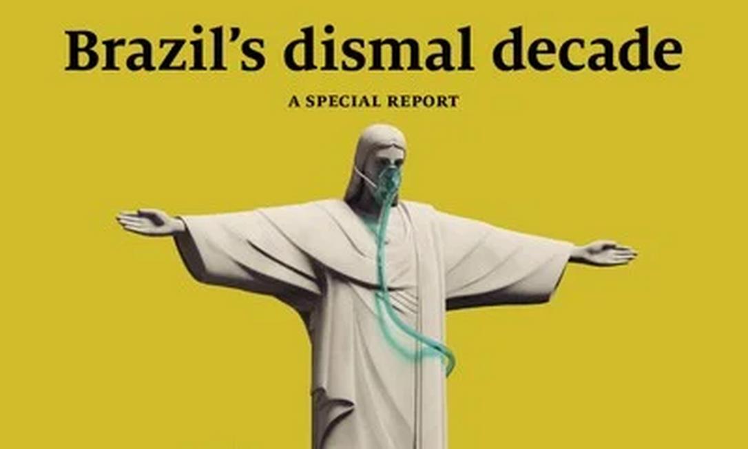 """Reportagem especial da revista britânica The Economist fala sobre """"A década sombria do Brasil"""", na edição de 3 de julho, destacando que o país passa pela sua pior crise desde sua volta à democracia sob o governo de Jair Bolsonaro Foto: Reprodução"""