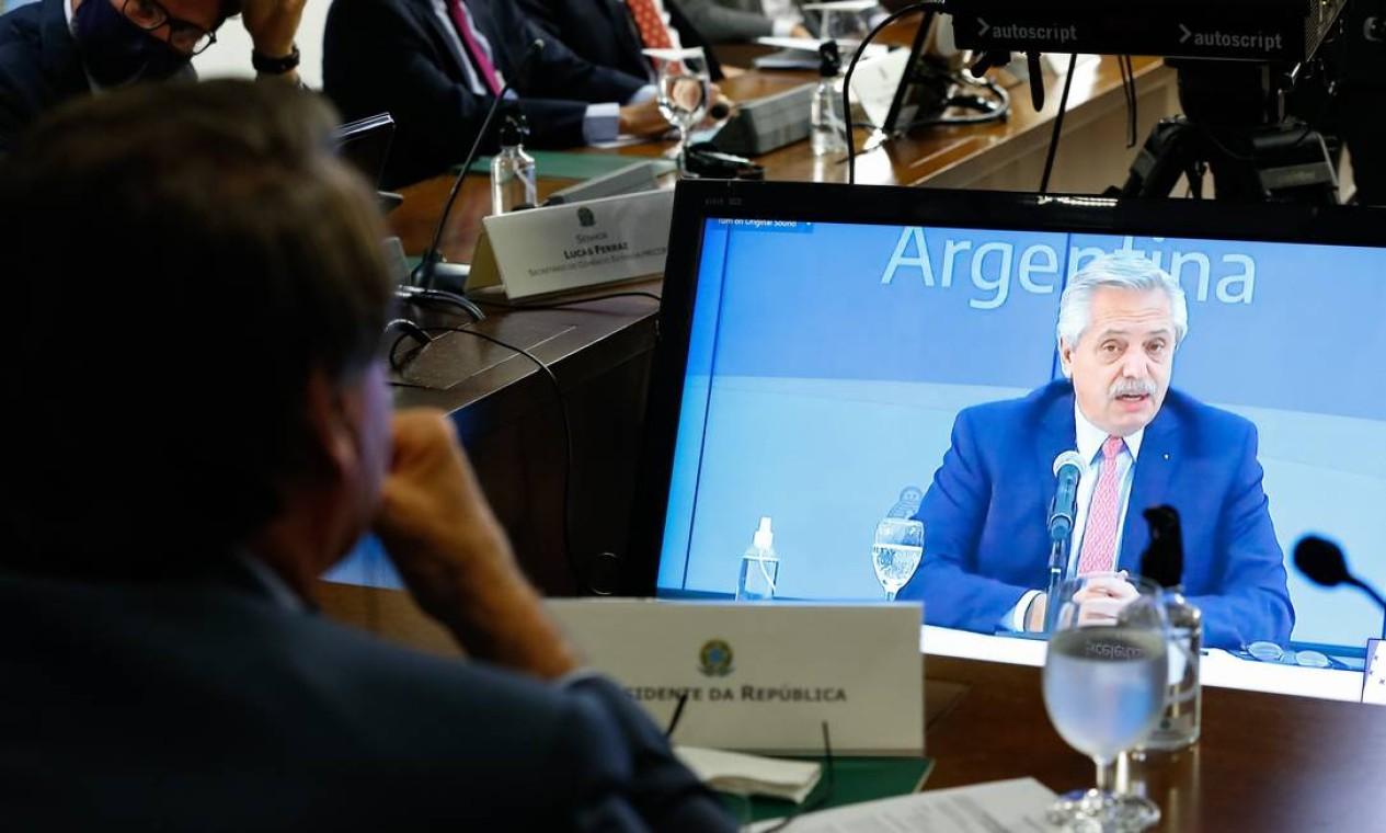Presidente argentino Alberto Fernández participa da cúpula do Mercosul Foto: Alan Santos / Agência O Globo