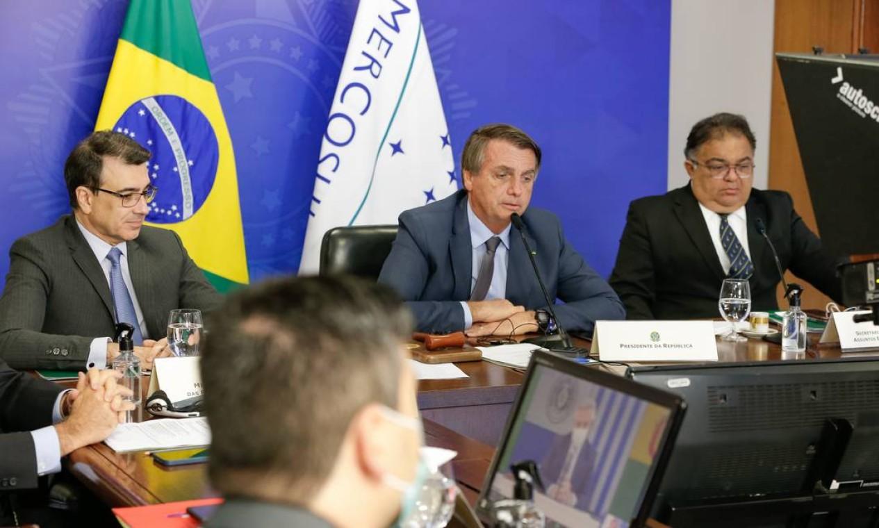 Presidente Bolsonaro discursa na cúpula do Mercosul Foto: Alan Santos / Agência O Globo