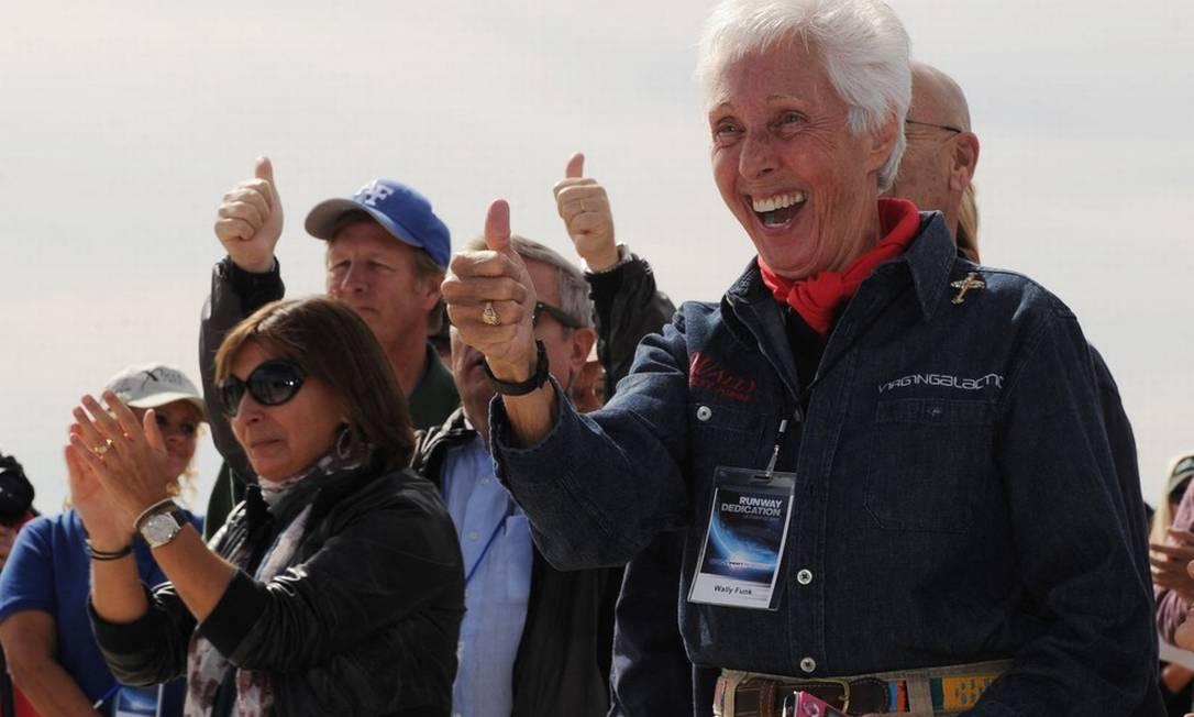 Aos 82 anos, Wally Funk se tornará a pessoa mais velha a ir ao espaço quando viajar a bordo do New Shepard. Imagem é de arquivo Foto: Mark Ralston/AFP