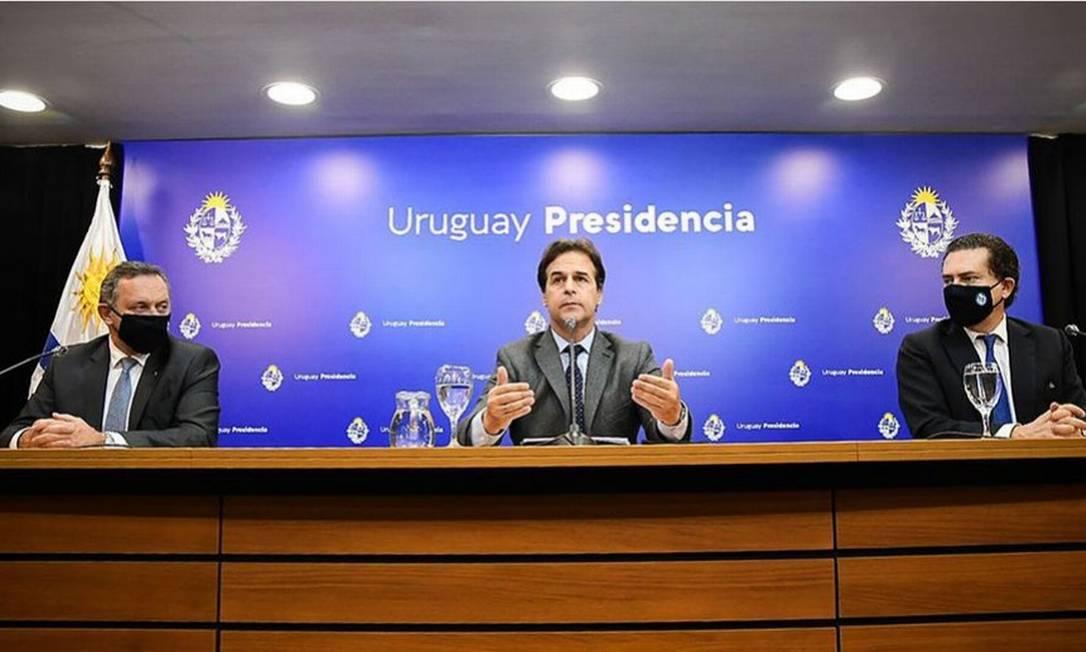 O presidente do Uruguai, Lacalle Pou, durante coletiva de imprensa onde anunciou os avanços para fechar um acordo comercial com a China Foto: El País/GDA