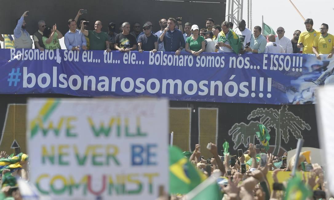 Presidente Jair Bolsonaro durante os atos de Sete de Setembro Foto: Cristiano Mariz / Agência O Globo