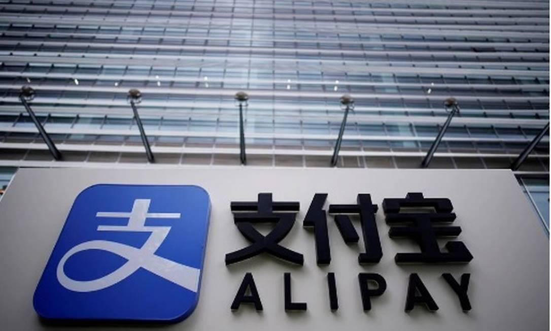 Logo da Alipay, braço para crédito da gigante chinesa de comércio eletrônico Alibaba Foto: Ali Song/Reuters