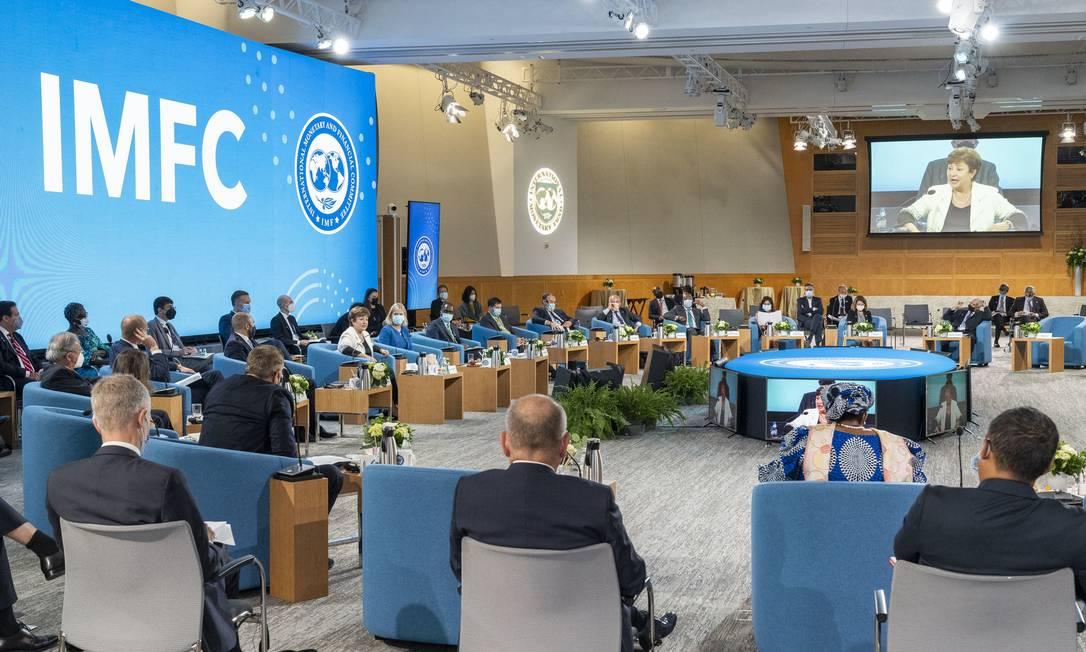 Encontro do IMFC, em reunião anual do FMI e do Banco Central Foto: Cory Hancock / IMF Photo/Cory Hancock