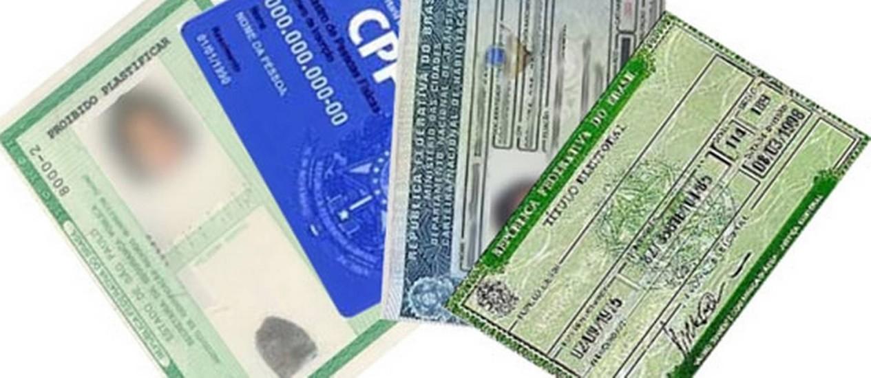 Documentos nacionais: RG, CPF, CNH e título eleitoral Foto: Reprodução