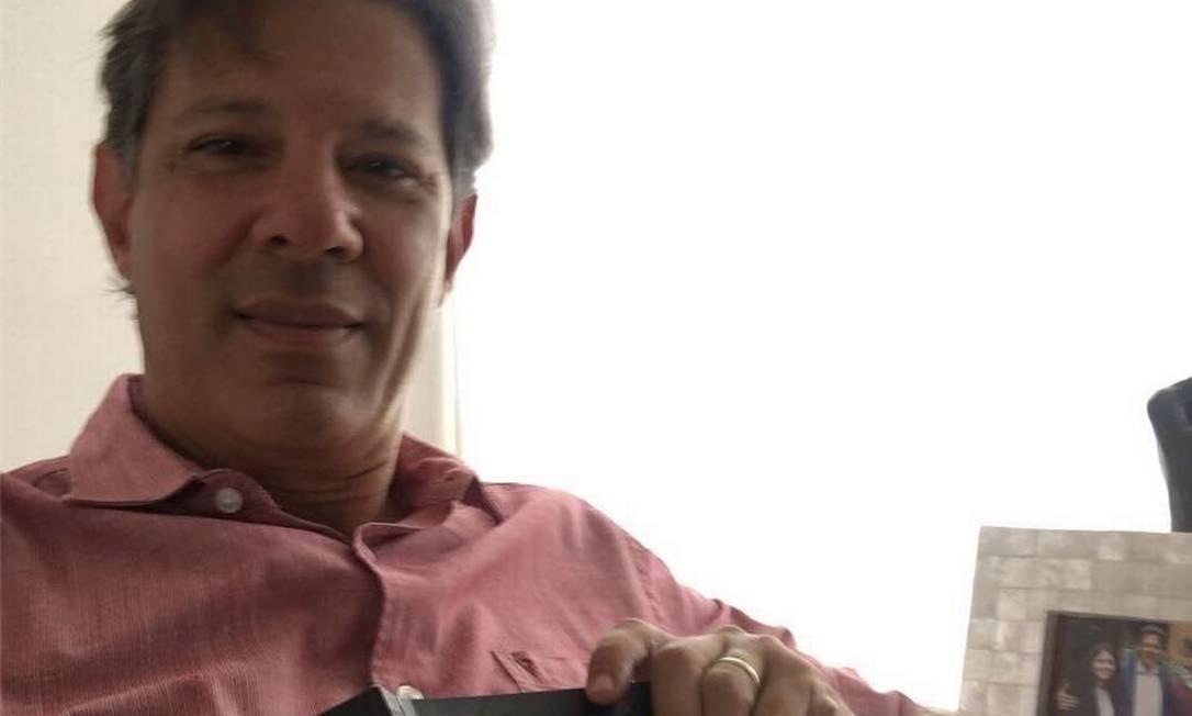 """Fernando Haddad postou nesta semana nas redes sociais: """"Relendo o maior educador brasileiro com a camisa da cor errada. Foi mal!"""" Foto: Reprodução"""