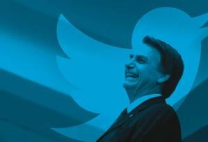 """Jair Bolsonaro atacou a """"imprensa"""" e a """"mídia"""" no Twitter mais de 120 vezes desde outubro de 2017, segundo levantamento de ÉPOCA. Foto: Montagem sobre foto de Leo Pinheiro / Valor"""