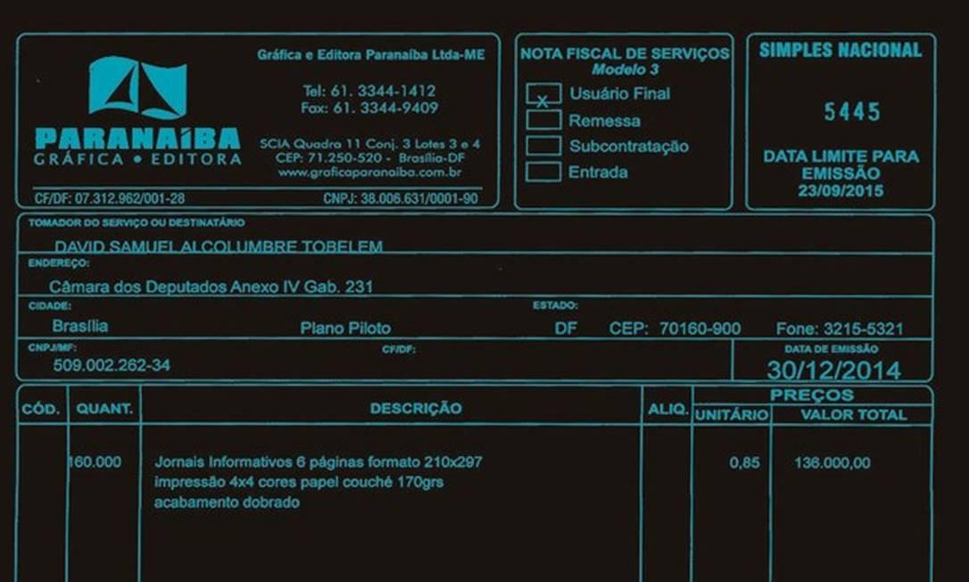 Uma nota fiscal com gastos com impressão fora da gráfica do Senado, uma das mais modernas do país, feitos pelo presidente da Casa, Davi Alcolumbre. Foto: Reprodução