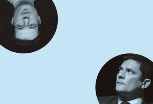 Deltan Dallagnol (à esquerda), procurador da República, e Sergio Moro (abaixo), ministro da Justiça e Segurança Pública. Uma cruzada justiceira contra a corrupção. Foto: Givaldo Barbosa / Agência O Globo; e Jorge Araújo / Folhapress