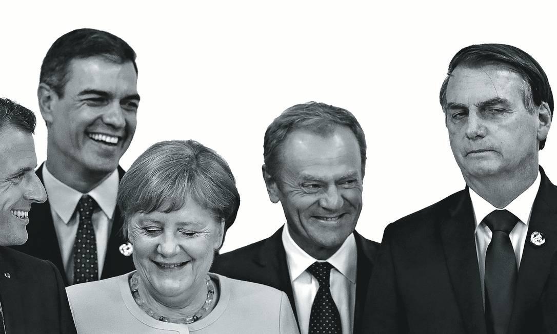A partir da esquerda, o presidente da França, Emmanuel Macron; o primeiro-ministro da Espanha, Pedro Sánchez; a chanceler alemã, Angela Merkel; o presidente do Conselho Europeu, Donald Tusk; o presidente Jair Bolsonaro; e o presidente da Argentina, Mauricio Macri, durante anúncio do acordo em Osaka. Foto: Jorge Silva / Reuters