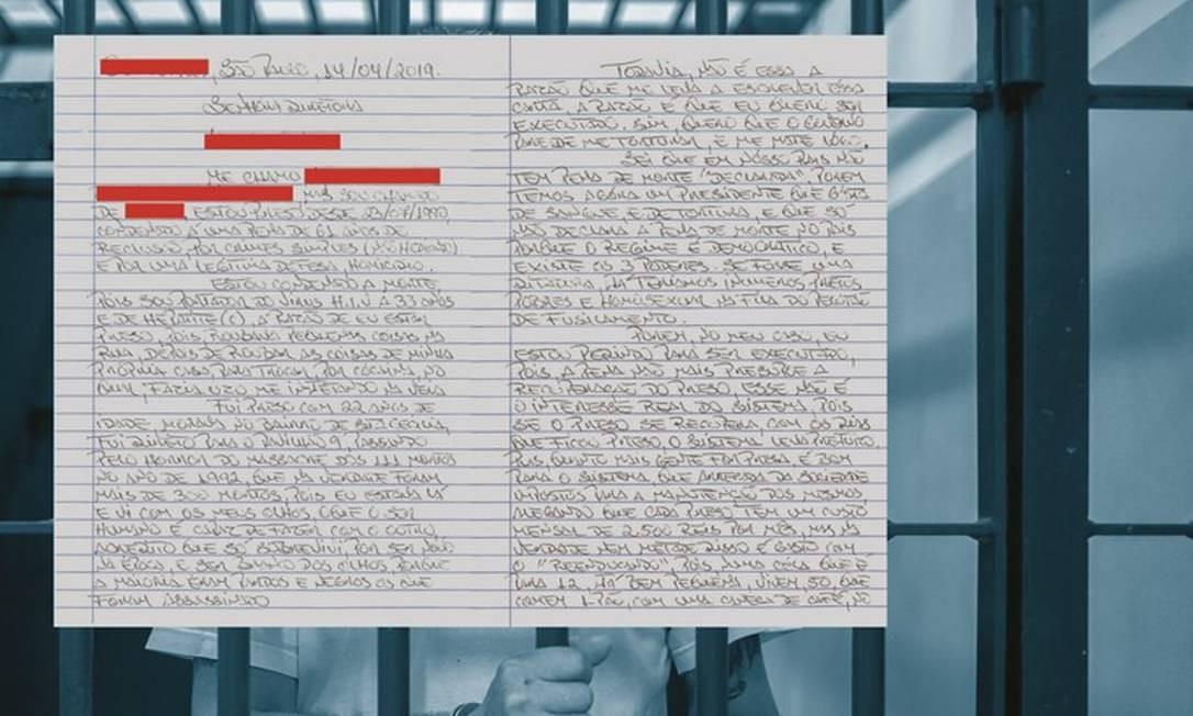 A decisão judicial que autorizou ÉPOCA a entrevistar o presidiário proibiu que ele fosse identificado pelo nome ou pela imagem. Foto: Edilson Dantas / Agência O Globo; Carta: Reprodução
